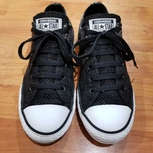 Converse All Star Black and Silver Woven Like New